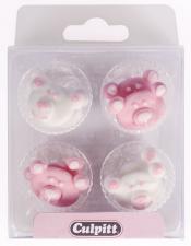 Kakepynt baby bjørn rosa 12stk