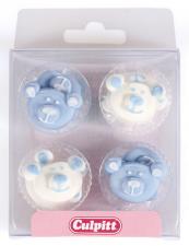 Kakepynt baby bjørn blå 12stk