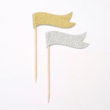 Flagg i gull og sølv 12stk