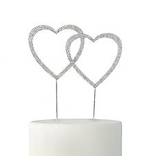 kakepynt hjerter sølvbling 10cm