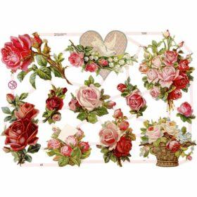 Glansbilder, roser, 3ark