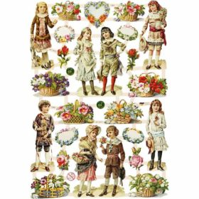 Glansbilder, barn og blomster, 3ark
