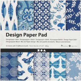 Designpapir 15x15cm - blå