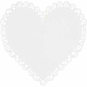 Hjerte kartong hvit, 10stk.