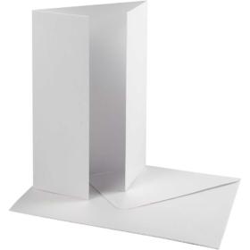 Kort og konvolutt 10set perlemor hvit