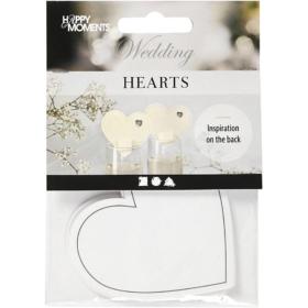 Hjerte 10stk hvit