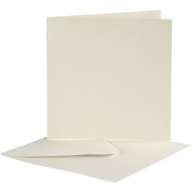 Kort og konvolutter 10sett  hvit