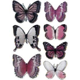 3D stickers sommerfugl rosa