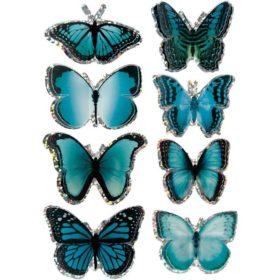 3D stickers sommerfugl turkisblå