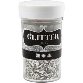 glitter flakes 30g sølv
