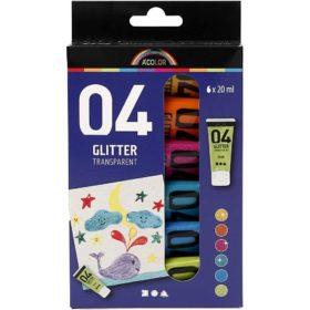 glitter akrylmaling 6x20ml