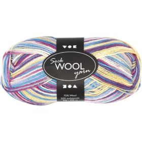 Sock Wool 50g - offhwite/purple