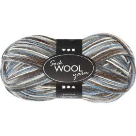 Sock Wool 50g - grå/blå