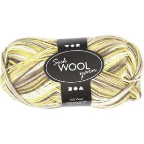 Sock Wool 50g - grønn/brun