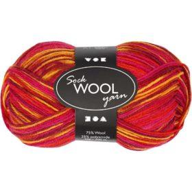 Sock Wool 50g - rød/orange