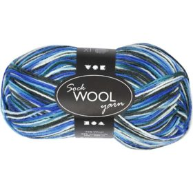 Sock Wool 50g - blå/turkis