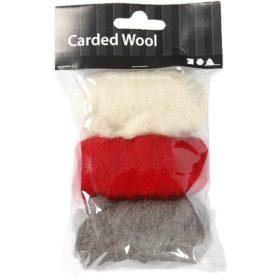 Kardet ull 3x10g rød/hvit/grå
