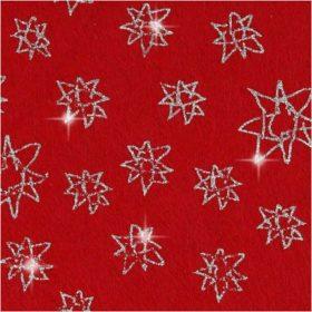 Filt 1mm 20x30cm - rød m/glitter stjerner
