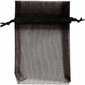 Organzapose svart, 7x10cm, 10stk.