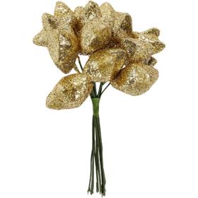 Deco-stjerne, dia. 25mm, gull, 12stk.