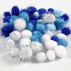 Pomponer, dia. 15+20 mm, blå/hvit