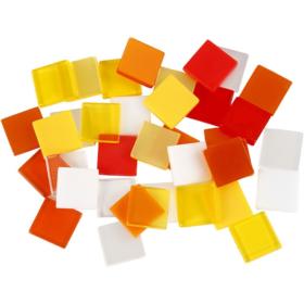 Minimosaikk 10x10x2mm, rød/orange harmoni, 25g