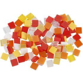 Minimosaikk 5x5x2mm, rød/orange harmoni, 25g