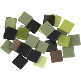 Minimosaikk 10x10x2mm, grønn harmoni, 25g