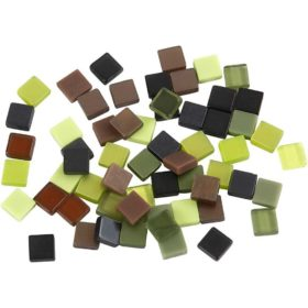 Minimosaikk 5x5x2mm, grønn harmoni, 25g