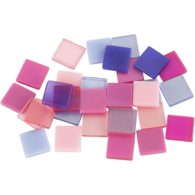 Minimosaikk 10x10x2mm, lilla/pink harmoni, 25g