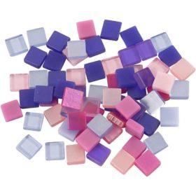 Minimosaikk 5x5x2mm, lilla/pink harmoni, 25g