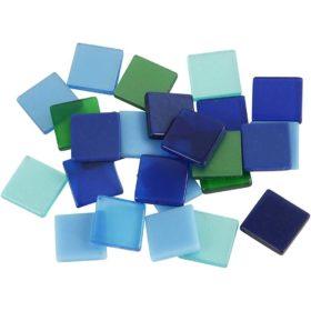 Minimosaikk 10x10x2mm, blå/grønn harmoni, 25g