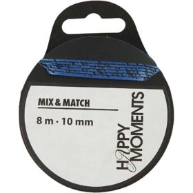 satengbånd m/print 10mmx8m blå
