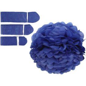 papirpomponer dia.20+24+30cm blå