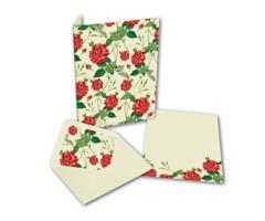 Brevpapir 10sett - røde roser