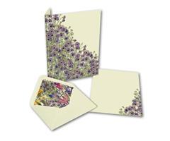 Brevpapir 10sett - blå blomster