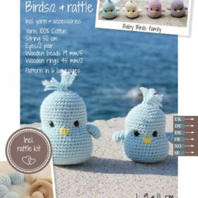 Crochet Kit - Baby birds & rattle, light blue