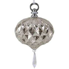 Julekule glass, 12cm antikk sølv