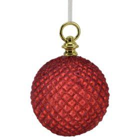 julekule glass, 10cm rød rutet