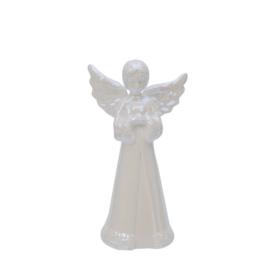 Engel 7x5x11cm pearl hvit porselen