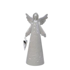 Engel pearl hvit m/hjerte 8x21cm porselen