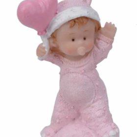 Baby på pute m/hjerte rosa