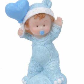 Baby på pute m/hjerte blå