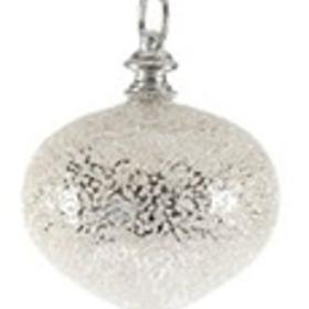 Julekule glass, 10cm sølv glittersnø