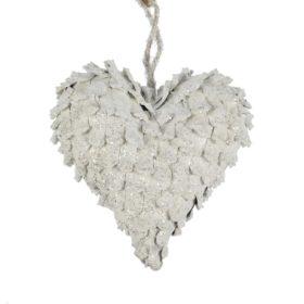 hjerte av kongler hvit