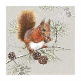 Serviett 33 Squirrel In Winter