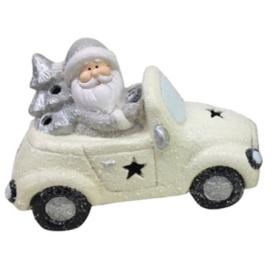Bil julenisse snøhvit keramikk