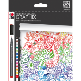 Graphix - Fineliner 12stk - colour doodle