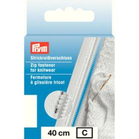 Prym Glidelås Strikk - 40cm hvit
