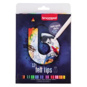 Bruynzeel B Felt Tips Blue – Tusjsett 12stk